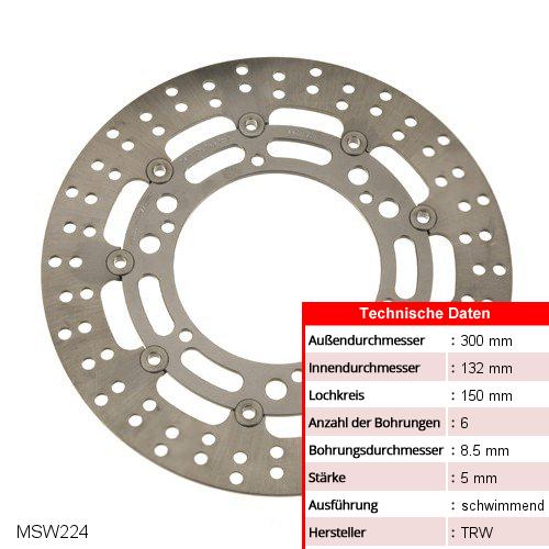 Bremsscheibe schwimmend TRW MSW224 (1 Stück)