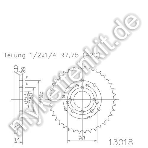 Kettenrad K50-13018 Stahl