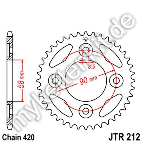 Kettenrad JTR212 Stahl