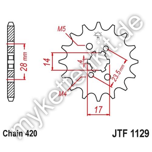 Teilung 420 JTF252.16 JT Motorrad Ritzel 16 Zähne