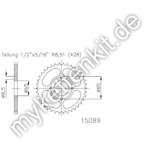 Kettenrad K50-15089 Stahl