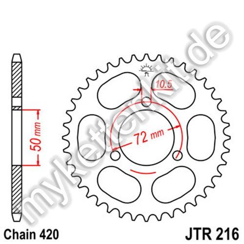 Kettenrad JTR216 Stahl