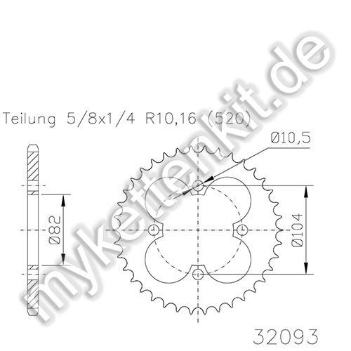 Kettenrad K50-32093 Stahl