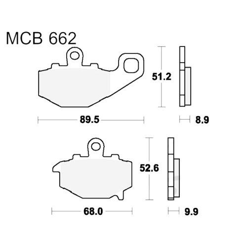 Bremsklotz Sinter hinten TRW MCB662SH (1 Satz)