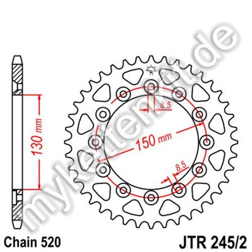 Kettenrad JTR245-2 Stahl