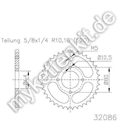 Kettenrad K50-32086 Stahl