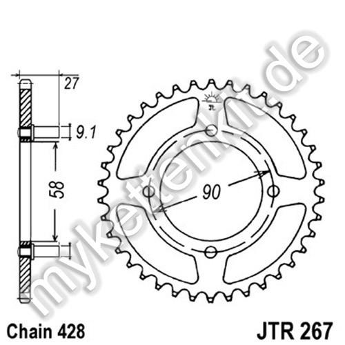 Kettenrad JTR267 Stahl