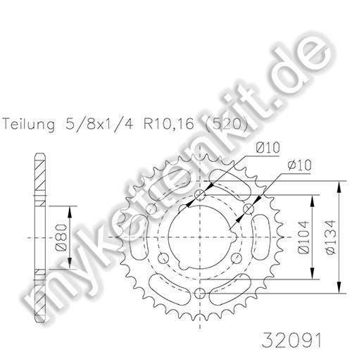 Kettenrad K50-32091 Stahl
