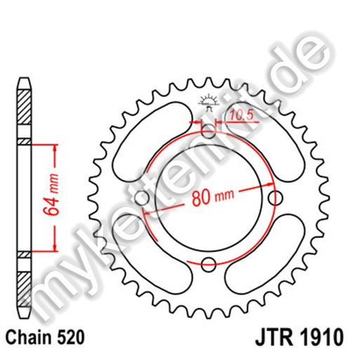 Kettenrad JTR1910 Stahl