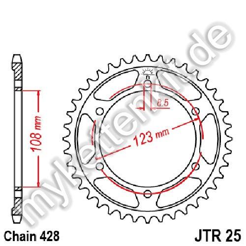 Kettenrad JTR25 Stahl