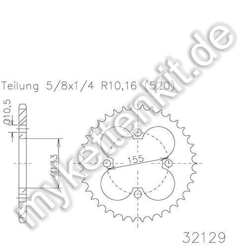 Kettenrad K50-32129 Stahl