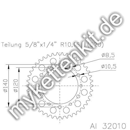 Kettenrad K51-32010 Alu