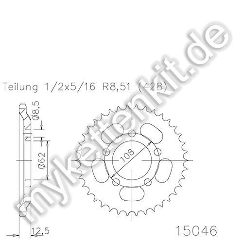 Kettenrad K50-15046 Stahl