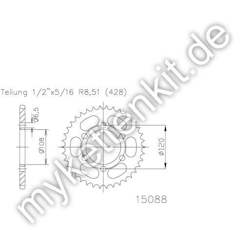 Kettenrad K50-15088 Stahl