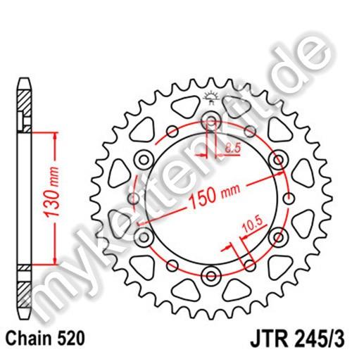 Kettenrad JTR245-3 Stahl