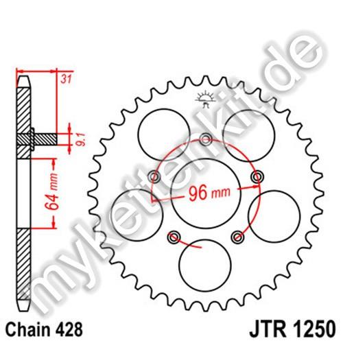 Kettenrad JTR1250 Stahl
