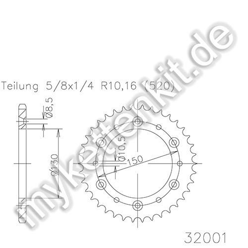 Kettenrad K50-32001 Stahl
