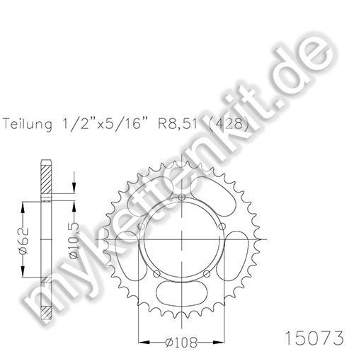 Kettenrad K50-15073 Stahl