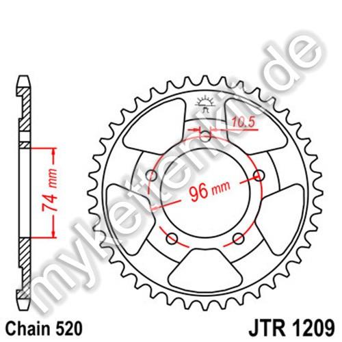 Kettenrad JTR1209 Stahl