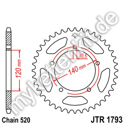 Kettenrad JTR1793 Stahl