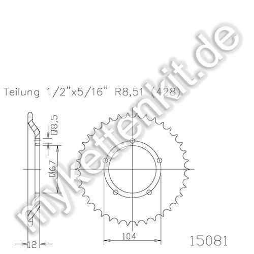 Kettenrad K50-15081 Stahl