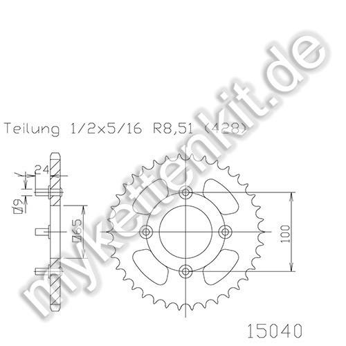 Kettenrad K50-15040 Stahl