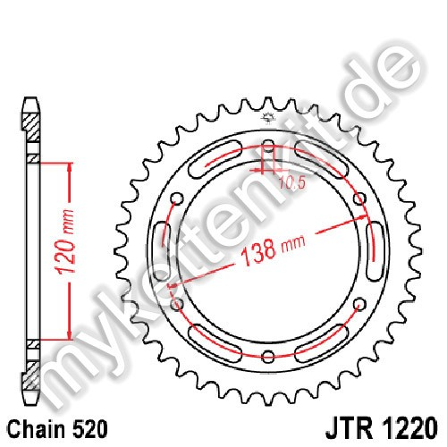 Kettenrad JTR1220 Stahl