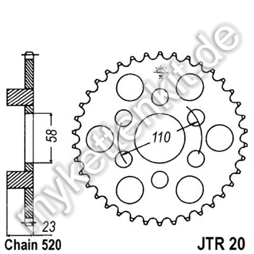 Kettenrad JTR20 Stahl