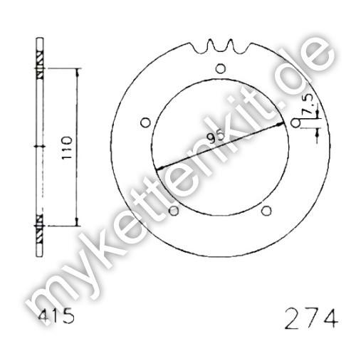 Kettenrad K20-0274 Stahl