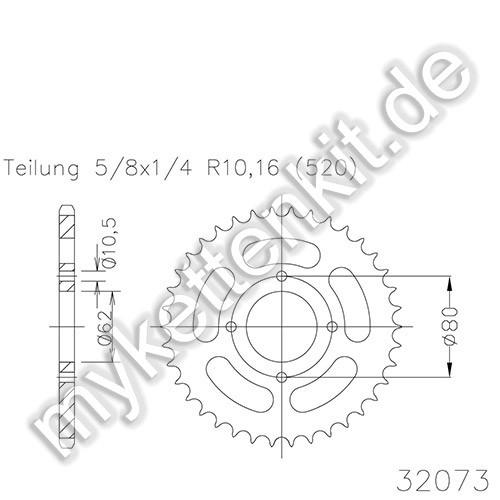 Kettenrad K50-32073 Stahl
