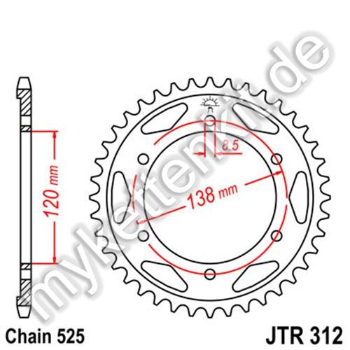 Kettenrad JTR312 Stahl