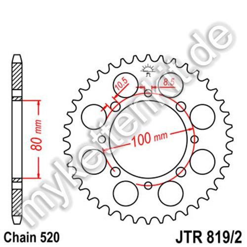 Kettenrad JTR819-2 Stahl