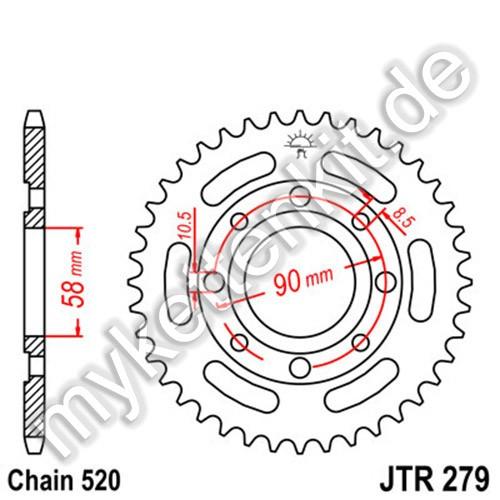 Kettenrad JTR279 Stahl