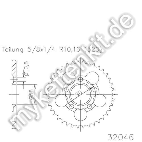 Kettenrad K50-32046 Stahl