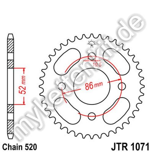 Kettenrad JTR1071 Stahl