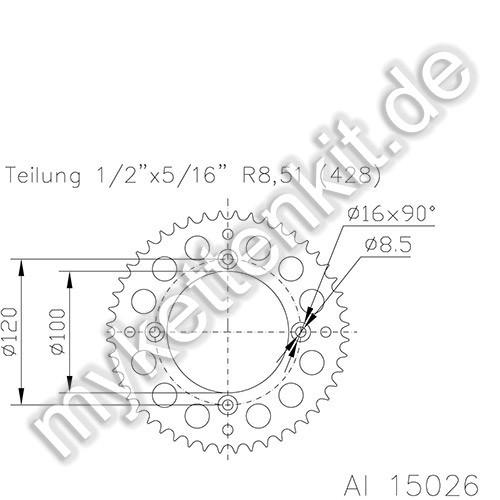Kettenrad K51-15026 Alu