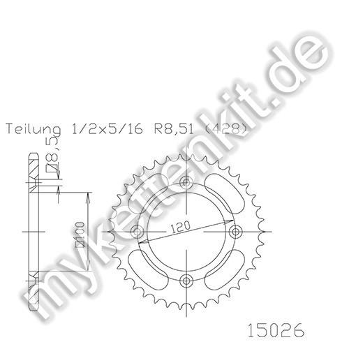 Kettenrad K50-15026 Stahl