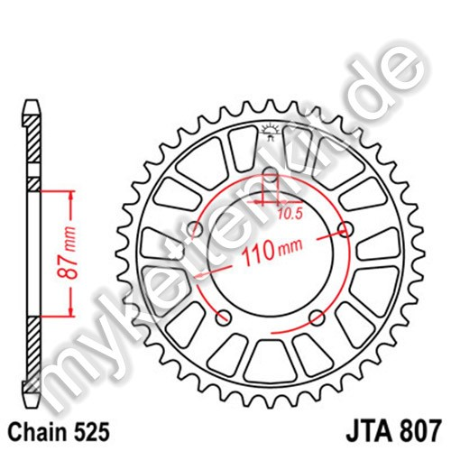 Kettenrad JTA807 Alu