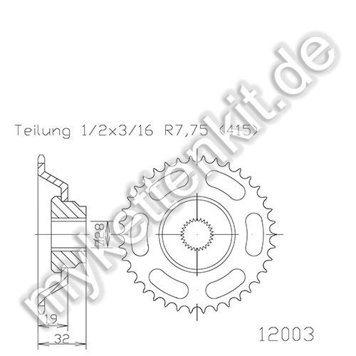 Kettenrad K50-12003 Stahl
