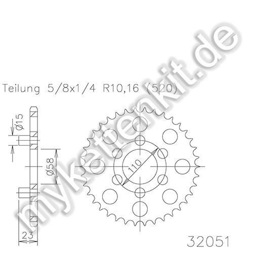 Kettenrad K50-32051 Stahl