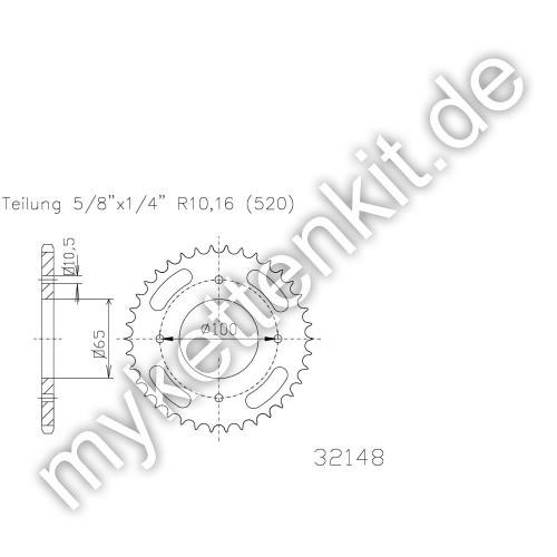 Kettenrad K50-32148 Stahl