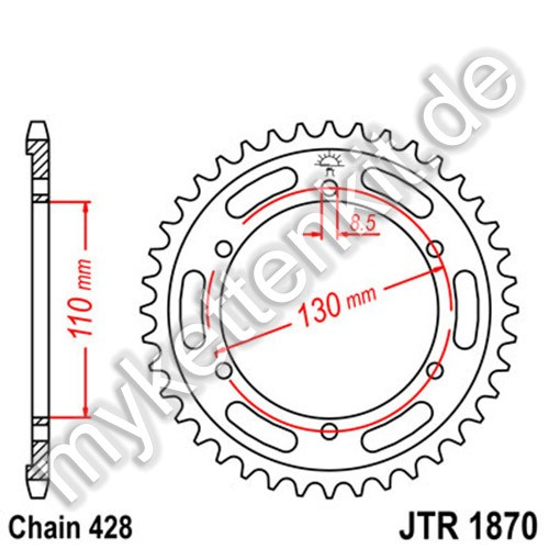 Kettenrad JTR1870 Stahl