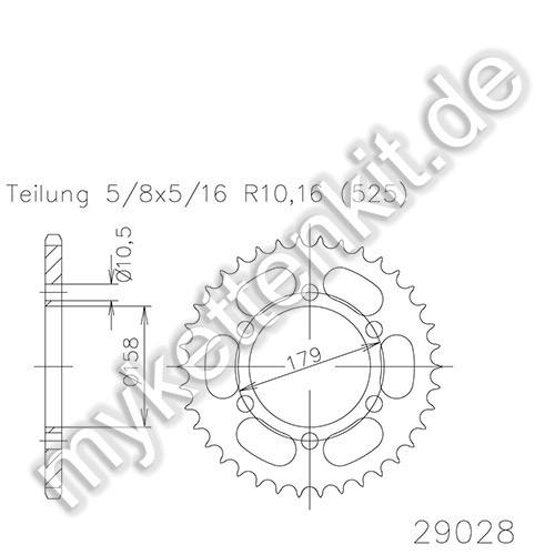Kettenrad K50-29028 Stahl