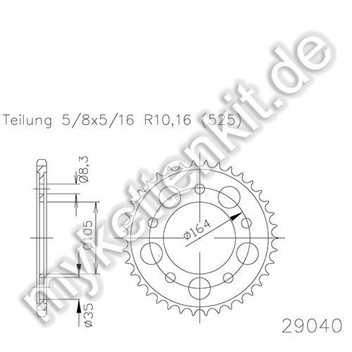 Kettenrad K50-29040 Stahl