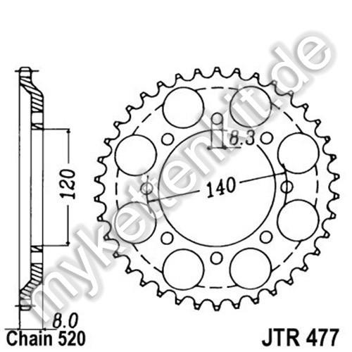 Kettenrad JTR477 Stahl