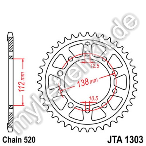 Kettenrad JTA1303 Alu