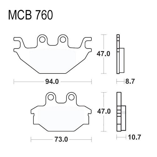 Bremsklotz Sinter SI TRW MCB760SI (1 Satz)
