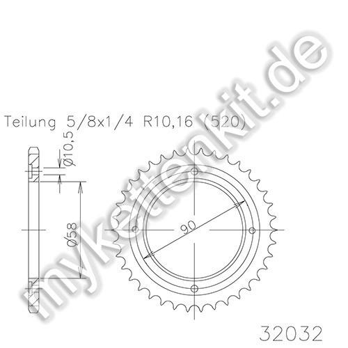Kettenrad K50-32032 Stahl