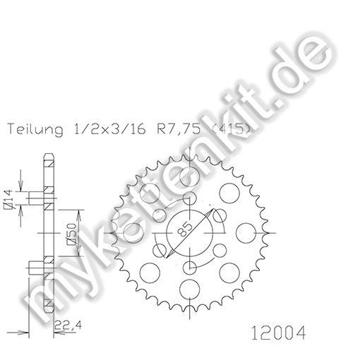 Kettenrad K50-12004 Stahl