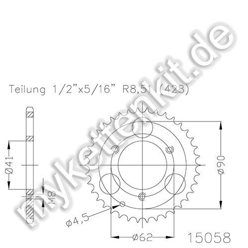 Kettenrad K50-15058 Stahl